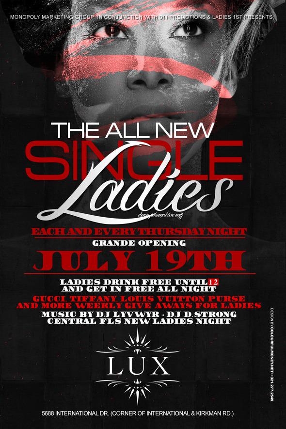 Single Ladies Night – Thursdays at LUX [Orlando,FL]